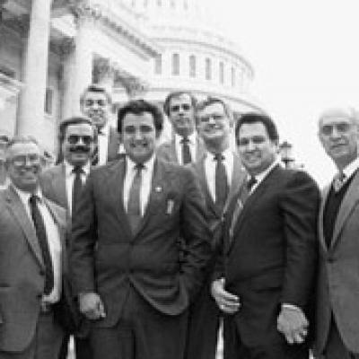 Black and white image of a group of Hispanic American Congressmen
