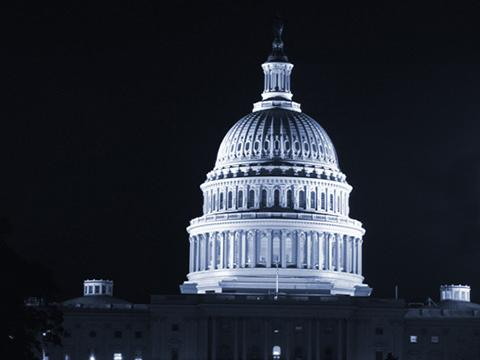 U.S. Capitol dome at night