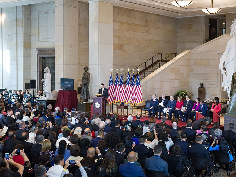 A crowd of several hundred people gathered for the Congressional Gold Medal Ceremony