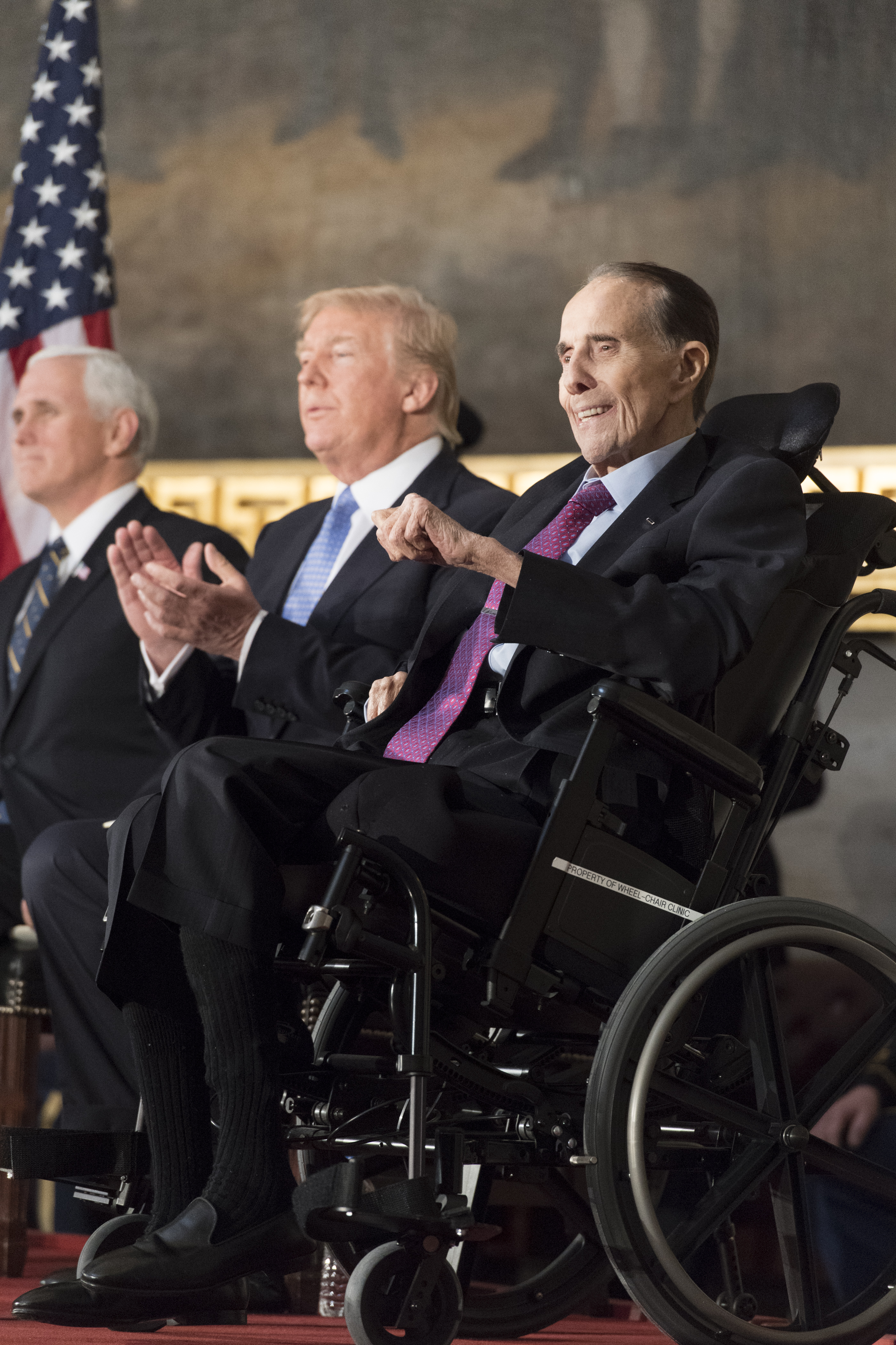 Senator Bob Dole with President Trump and Vice President Pence