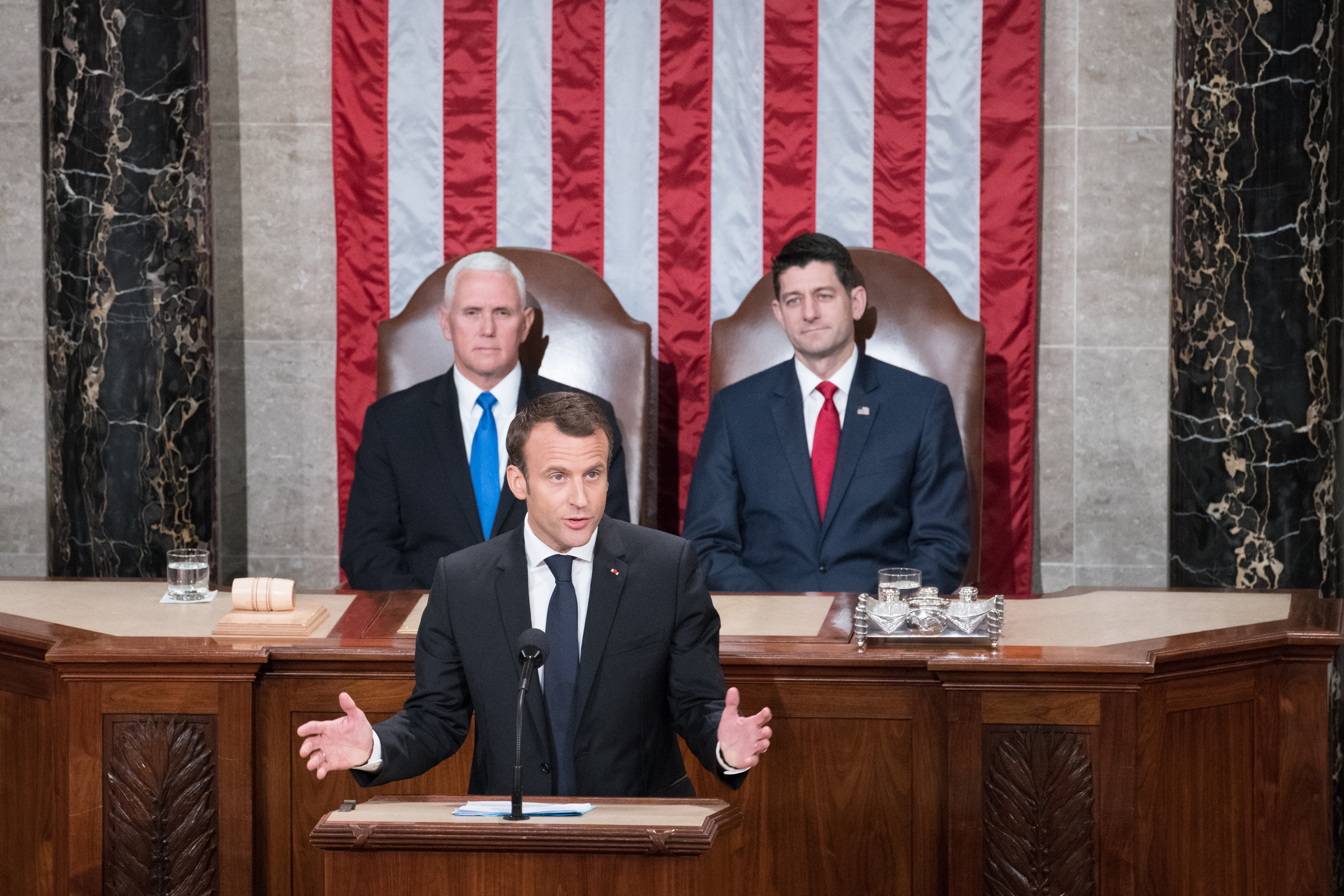 French President Macron flanked by Vice President Pence and Speaker Ryan