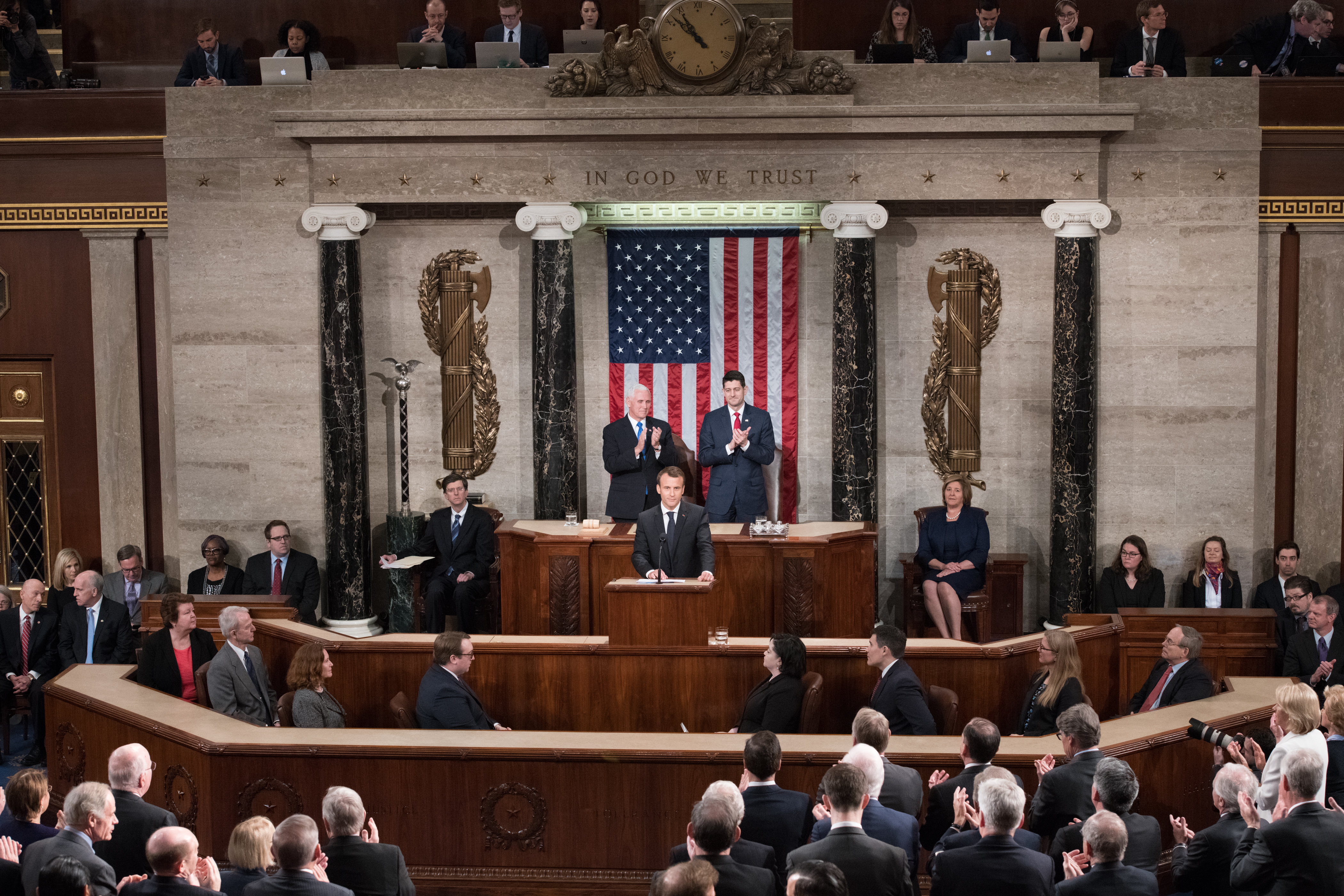 French President Macron at the Speaker's dais on the House Floor