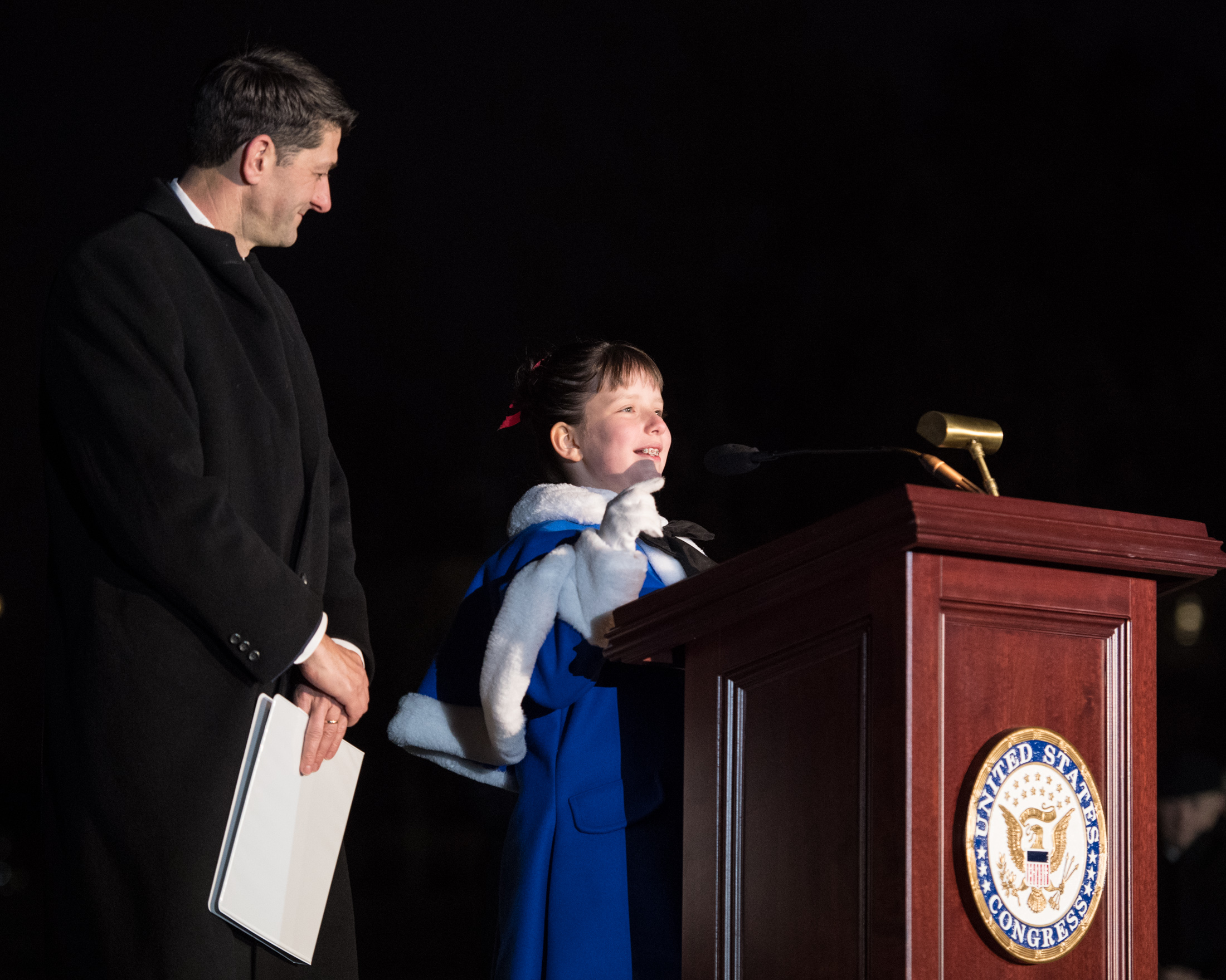 Speaker Ryan lit the 80-foot-tall noble fir with the help of Bridgette Harrington.