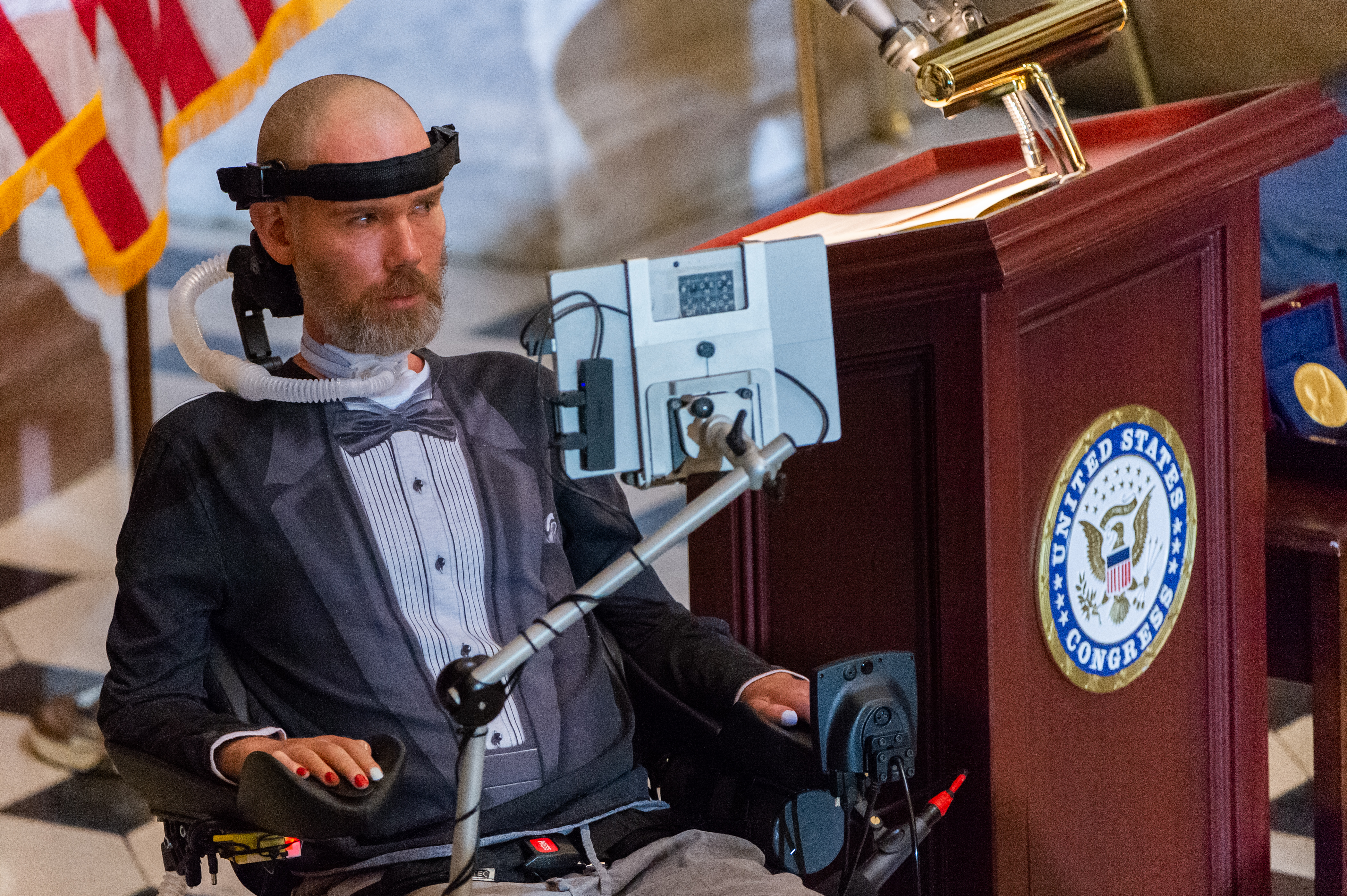 Steve Gleason, former NFL player and ALS advocate, addressed guests in Statuary Hall.