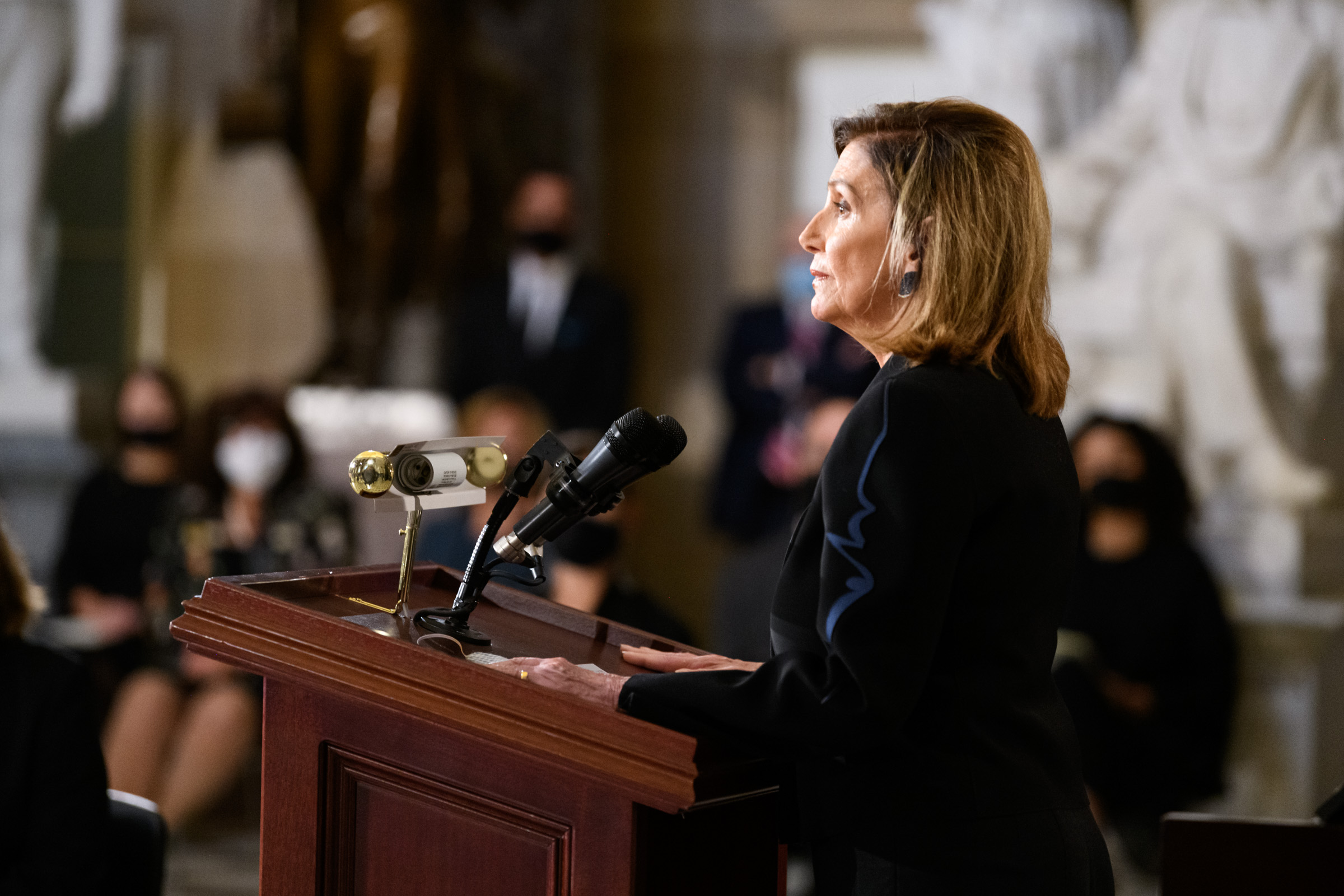 Speaker of the House of Representatives Nancy Pelosi spoke at the memorial service. Photo by Ike Hay
