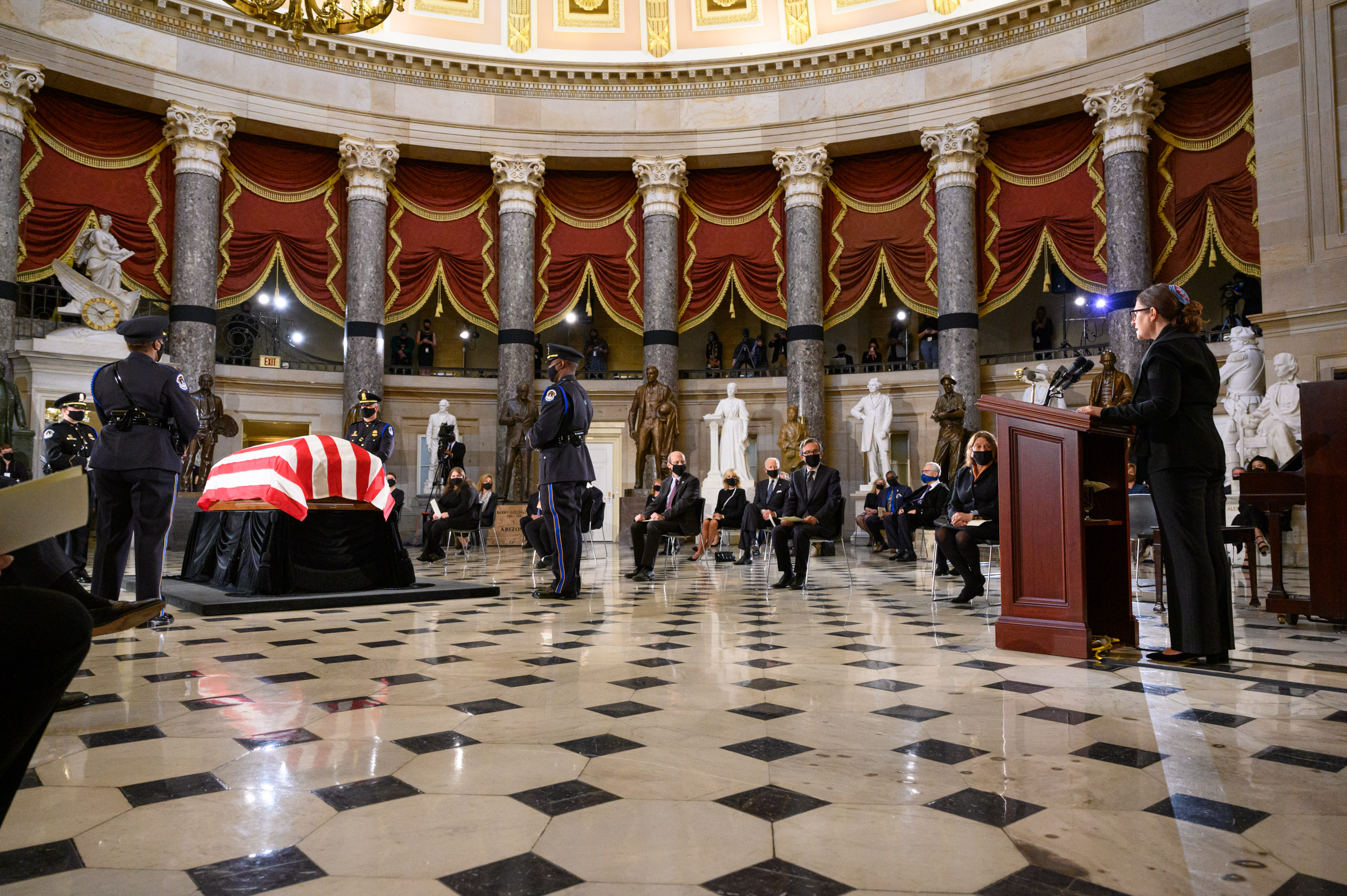 Family and invited guests joined in the U.S. Capitol to honor Justice Ginsburg. Photo by Ike Hayman.