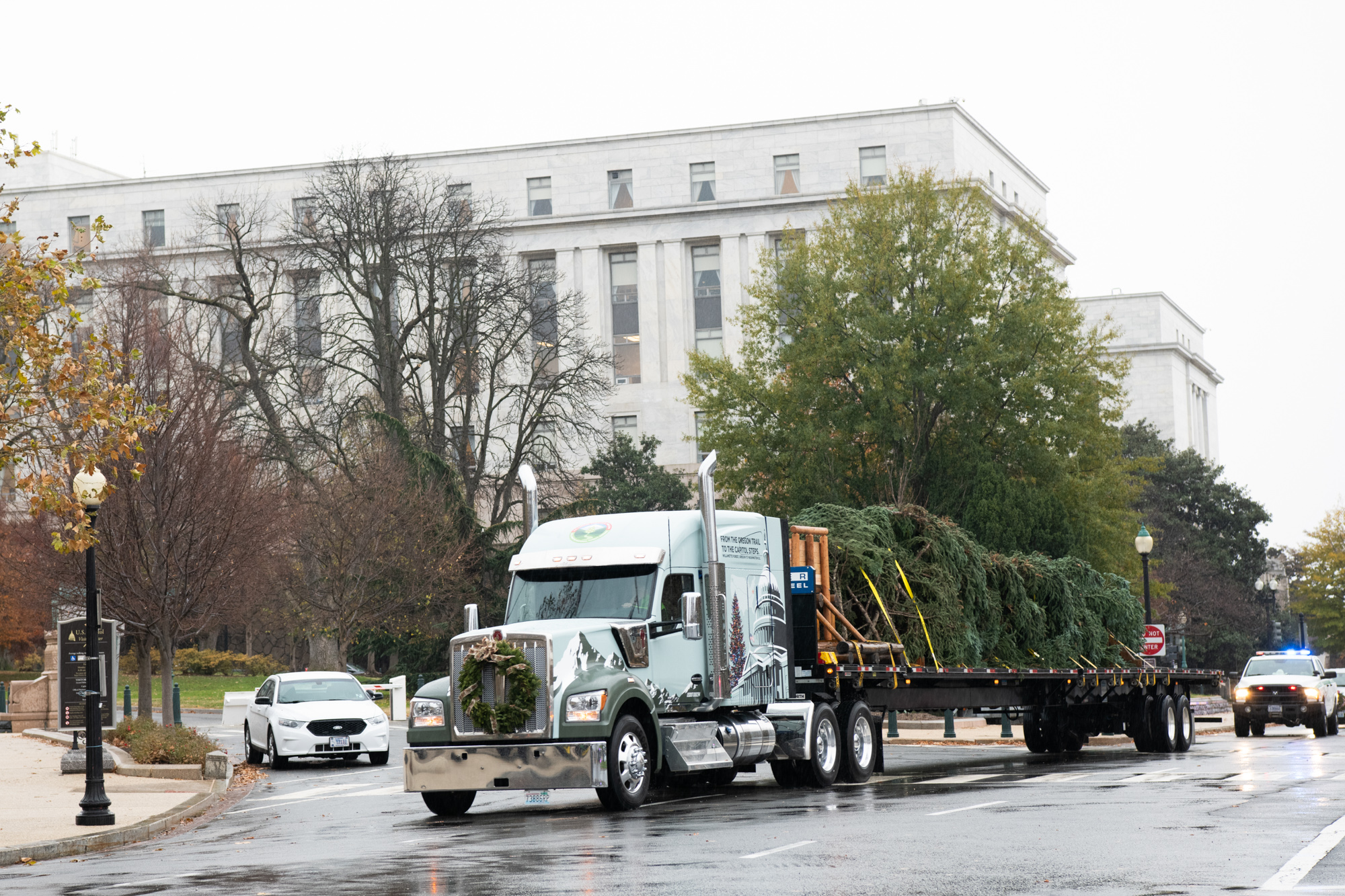 The Capitol Christmas Tree on the flatbed of a truck