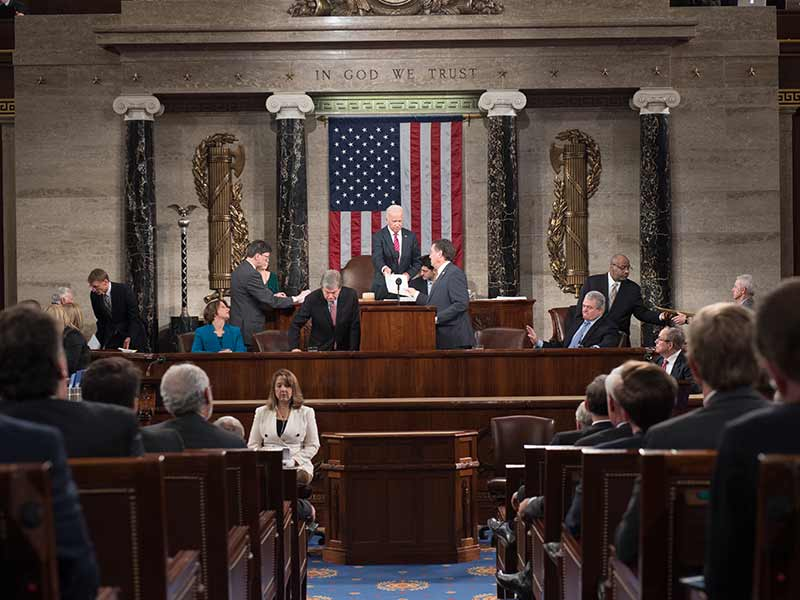 Vice President Joe Biden with House Speaker Paul Ryan on the Speaker's Rostrum in the House Chamber