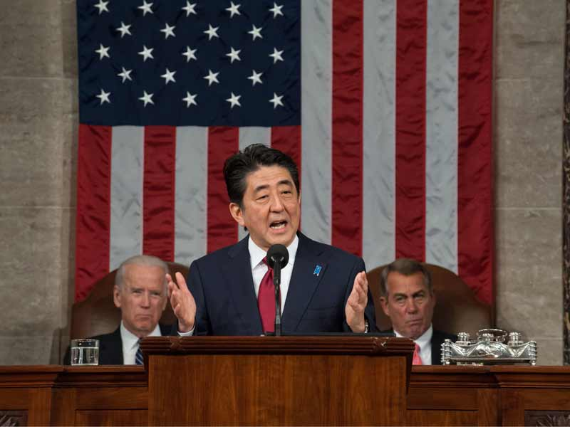 Japanese Prime Minister Shinzo Abe addresses a joint meeting of Congress