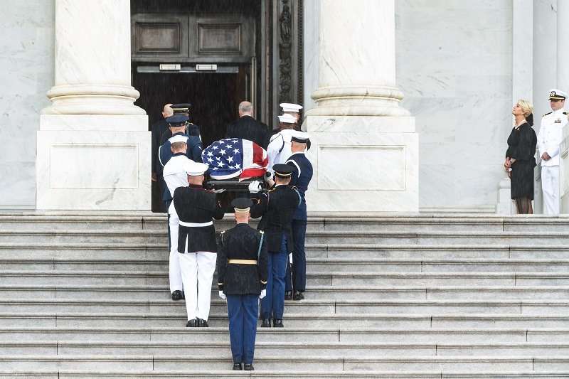 Senator McCain's casket is carried into the U.S. Capitol. Photo by Leah Herman.