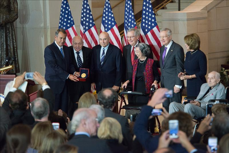 Speaker Boehner presents the Gold Medal to the Monuments Men