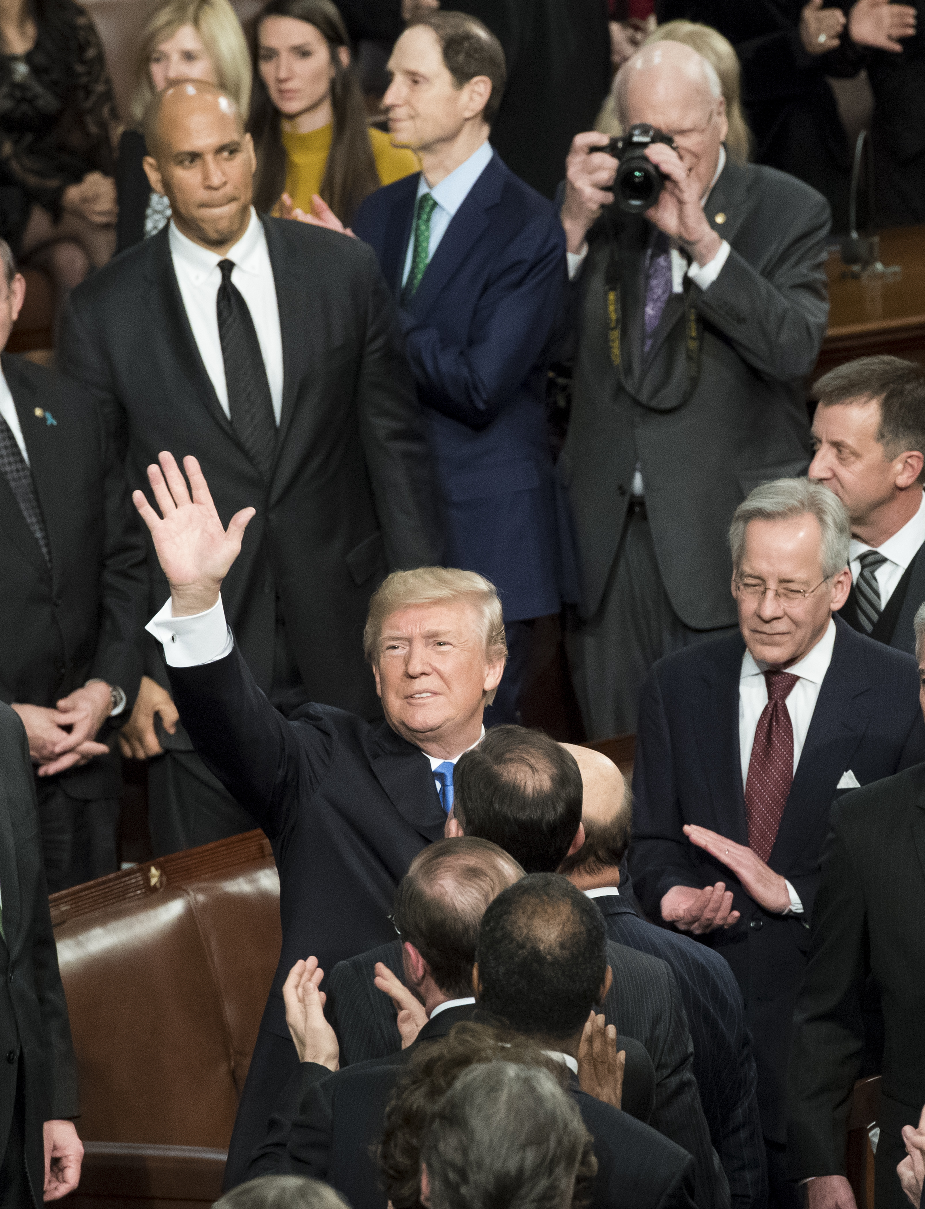 President Donald Trump enters the House Chamber