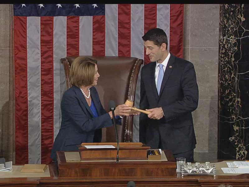 Speaker Ryan accepts the gavel from House Minority Leader Nancy Pelosi