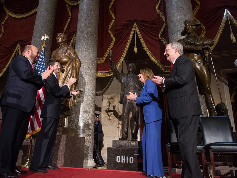 Cliff Rosenberger, Paul Ryan, Nancy Pelosi, and Mitch McConnell standing with the statue of Edison