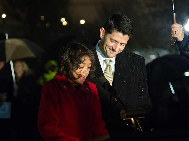 Speaker Paul Ryan stands with Boise fifth grader Isabella Gerard